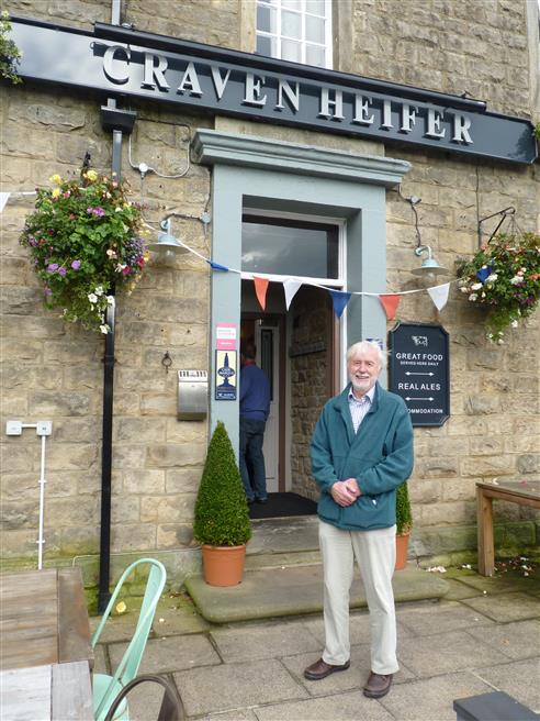 Tower Captain Stan Walmsley stood outside the Craven Heifer pub for lunch