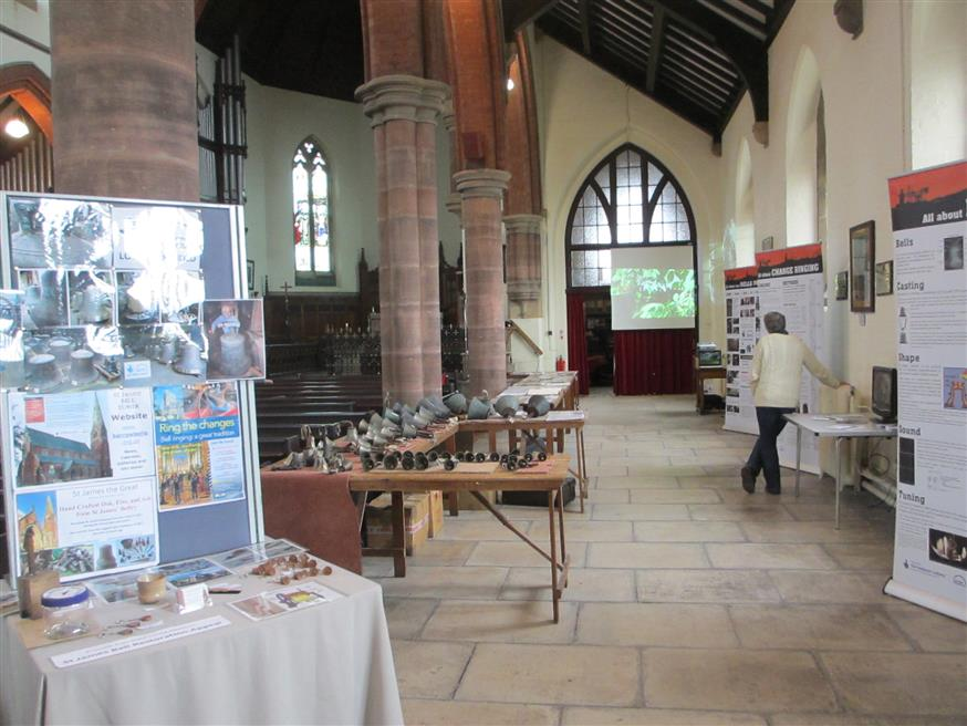 view of open day exhibits in sputh aisle of St James church