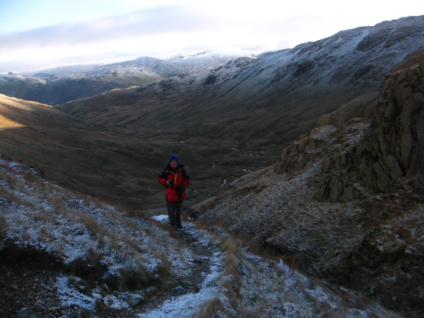 Ged and the view back down the valley