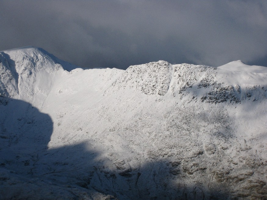 Full view of the Striding Edge route on to Helvellyn